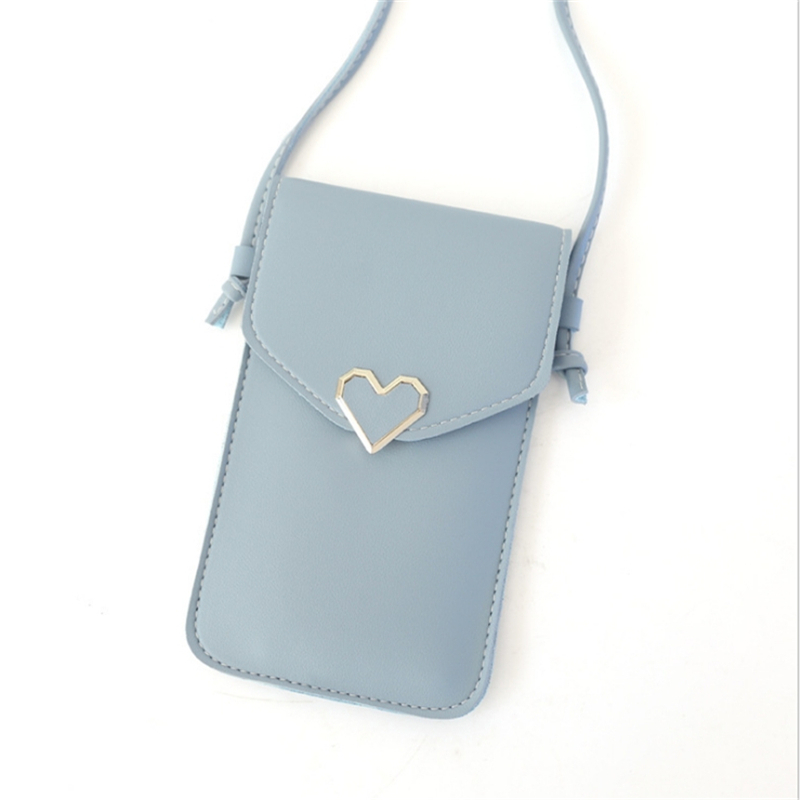 Touch Screen Mobile Phone Package For Women Ladies Transparent Shoulder Bag Simple Retro Female Heart Shape Student Buckle Pouch
