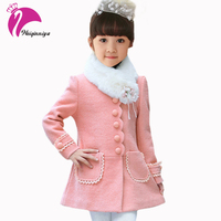 Teenage Girls Wool Coat Long Flower Winter Kids Outwear Coats Fashion Solid Scarf Collar Clothing Baby