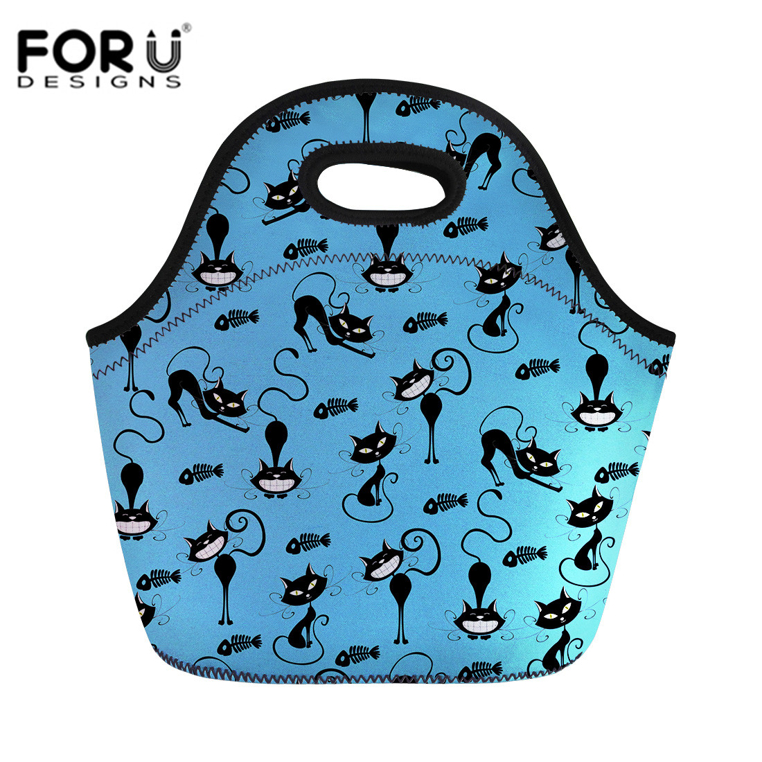 FORUDESIGNS Handbags Black Art Cats Printed Picnic Bags Thermal Insulated Neoprene Lunch Bag Women Kids Lunch Bags Dropshipping