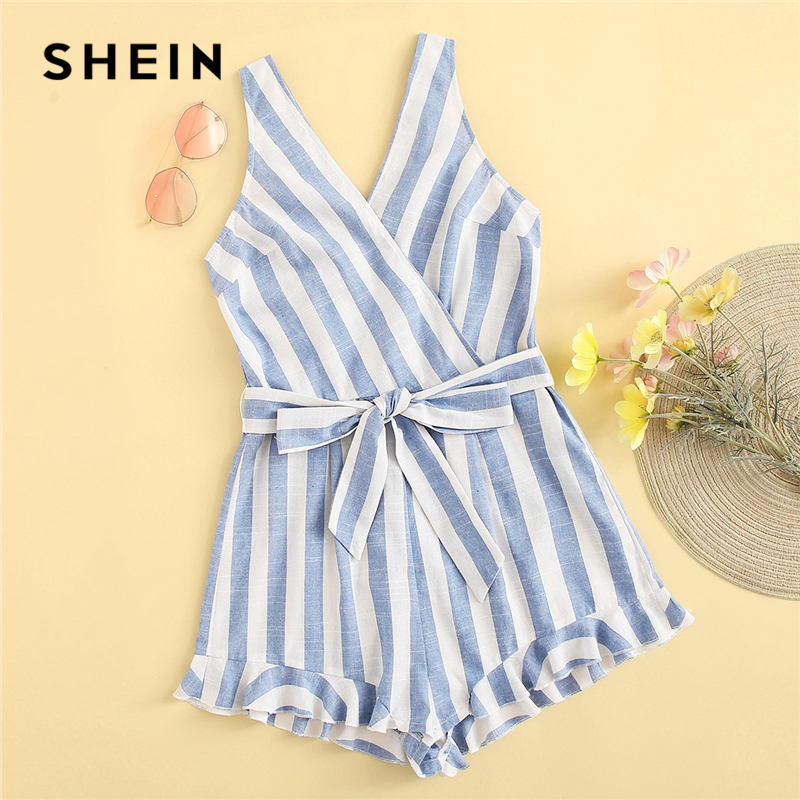 SHEIN Cute Blue Surplice Neck Ruffle Hem Belted Striped Rompers Womens   Jumpsuit   Summer Zip Back Sleeveless Playsuit Boho Rompers