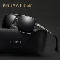 Roupai Men Polarized Vintage Glasses Fashion Driving Oversized Big Sunglasses Square Luxury Brand Sunglasses Black Yellow Shades