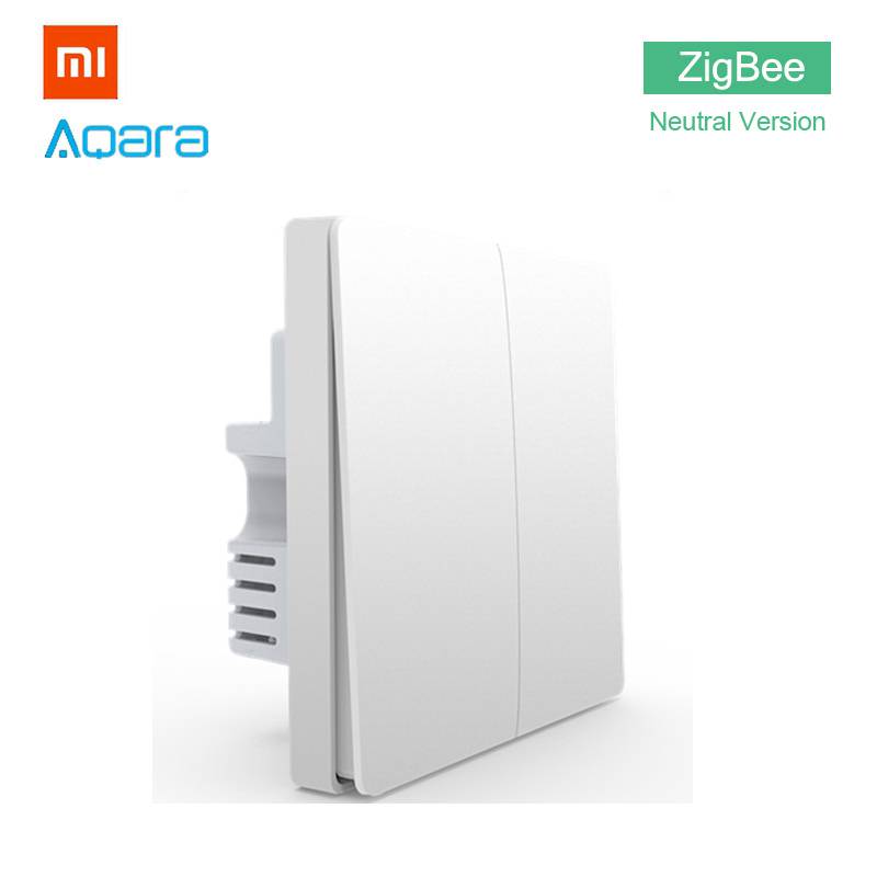 Xiaomi Aqara Wall Light Switch Home ZigBee Neutral Version Double Button Key Smart Home for Xiaomi Mi Home APP MIJIA Gateway Hub xiaomi smart home automation mijia wifi switch interruptor zigbee domotica domotique must match with xiaomi gateway to use
