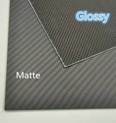 100mmX250mmX0.3mm 100% Carbon Fiber plate panel sheet 3K plain Weave Glossy