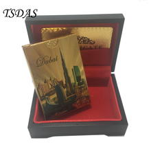 Colored 24k Gold Plated Playing Cards With Dubai Style Sports Leisure Game Poker Card With Gift Box & Certificate Card