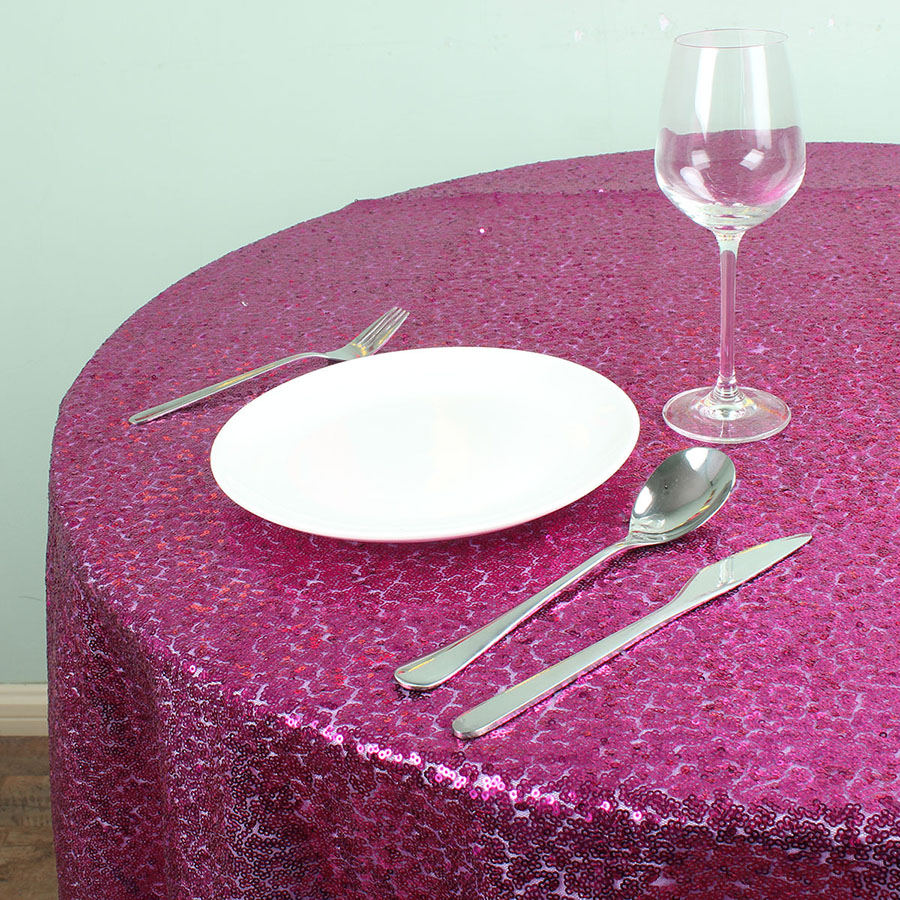 72 Inch Round Fuchsia Glitz Sequin TableCloths Banquet Table overlay ...