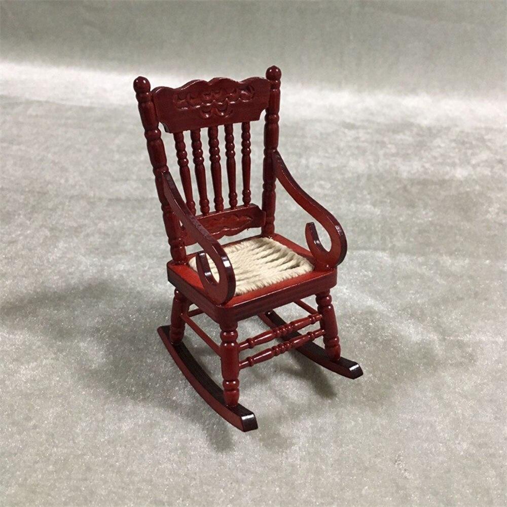 1 12 Dollhouse Miniature Accessories Mini Wooden Rocking Chair