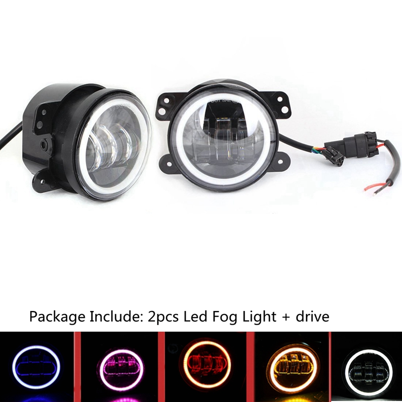 Pair 4 Inch 30W LED Fog Light with White DRL & Turn Singal for Jeep Wrangler Dodge Chrysler Front Bumper Lights