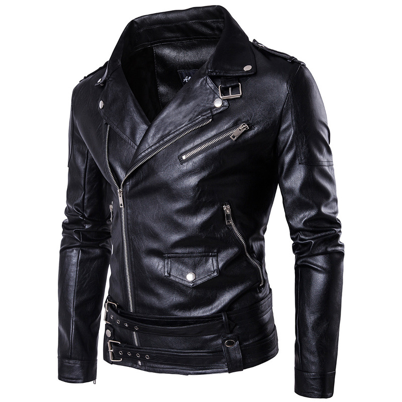Ouma 2018 high-end fine punk mens leather kali leather violence handsome motorcycle leather jacket Slim Harley leather jacket