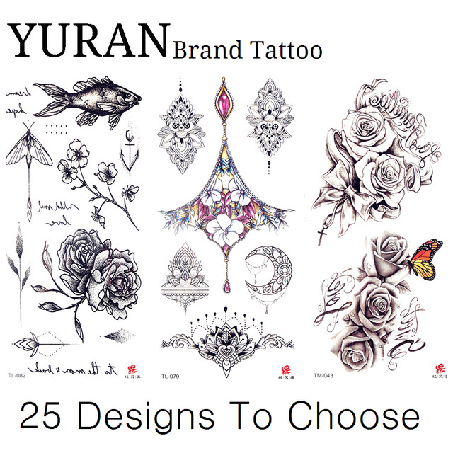 19x9cm Pencil Sketch Drawing Temporary Tattoo Henna Black Sexy Rose