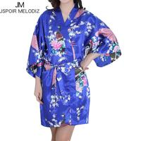 Silk Satin Robe Bride Bridesmaid Robe Floral Bathrobe Short Kimono Wedding Night Robe Bath Robe Fashion Dressing