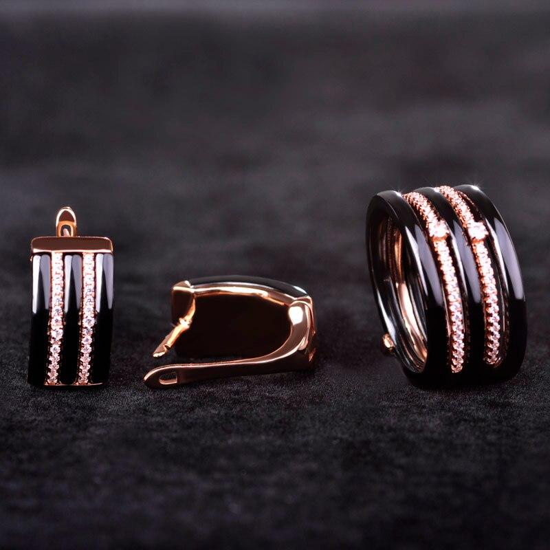 Blucome square zircon juegos de joyería pendientes y anillo de cerámica de lujo