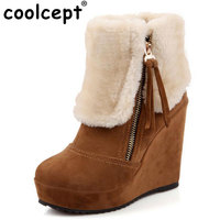 CooLcept Free Shipping Ankle Half Short Wedge Boots Women Snow Fashion Winter Warm Boot Footwear Shoes
