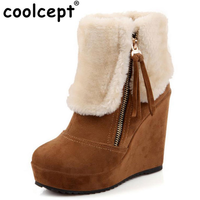 Women's Fashion Winter Wedges Short Snow Boots