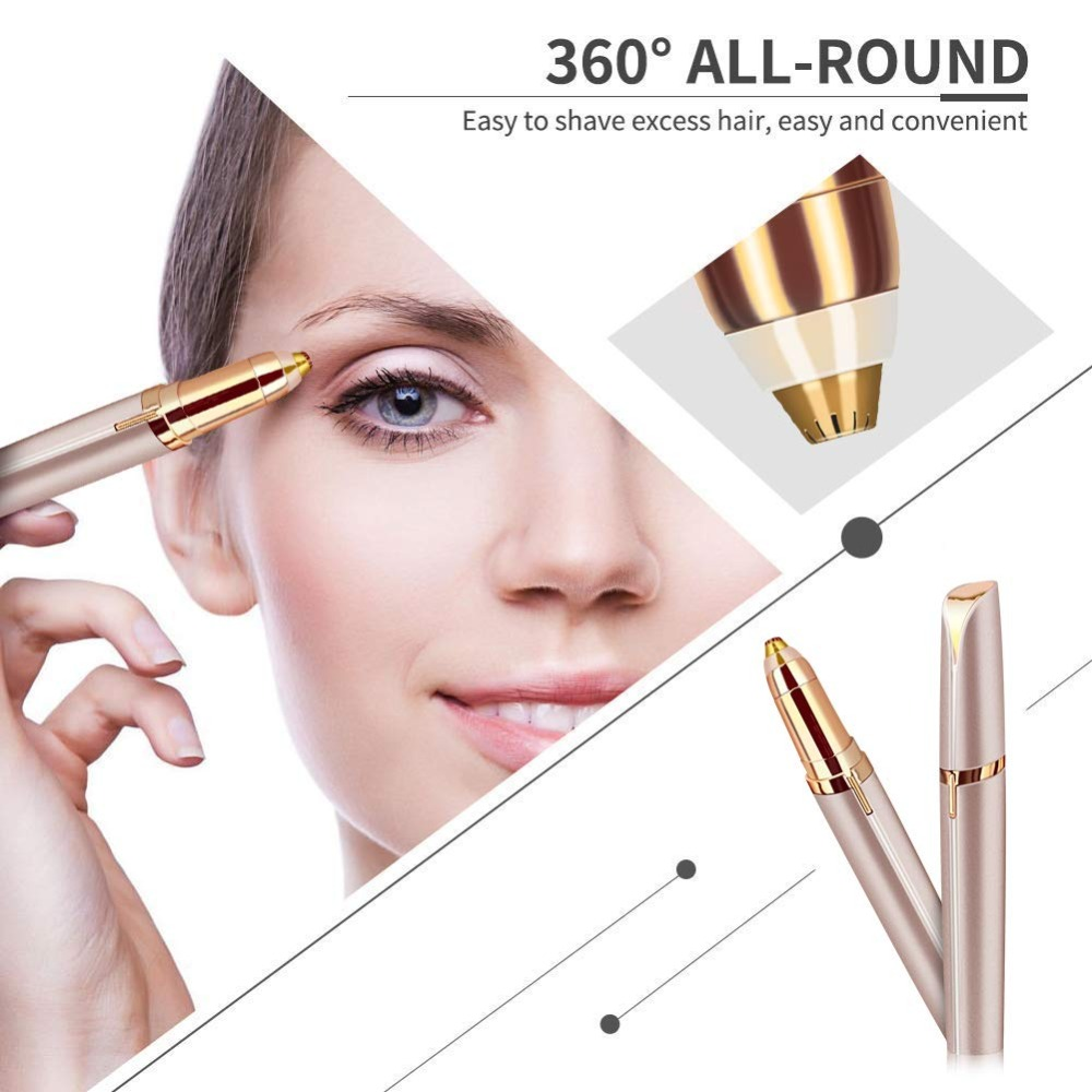 Eyebrow Tools Electric Eyebrow Trimmer Portable Mini Facial Hair Remover Painless Eye Epilator With LED Light