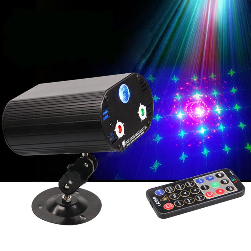 Sound Active Auto DIU# 3 Lens 36 Patterns RG Blue LED Stage Laser Lighting US Plug DJ Party Stage Effect Lighting Red Gree Blue 3 lens 36 patterns rg blue mini led stage laser lighting professinal dj light red gree blue