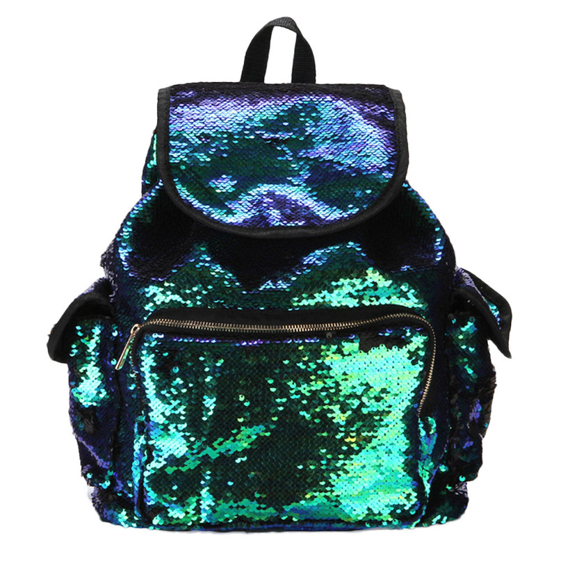 New 2017 Double Color Sequins Girls School Bag Soft Backpack Fashion Bag drop shipping 0602
