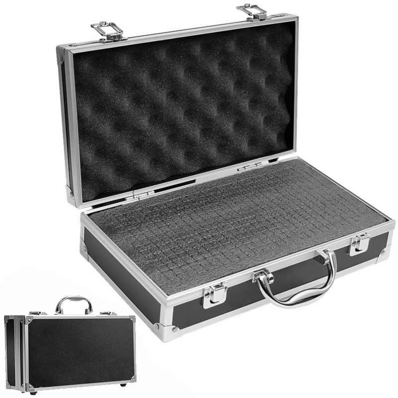 30x17x8cm Aluminium gereedschapskist Draagbare Instrument box Storage Case met Spons Voering Handheld slagvast toolBox