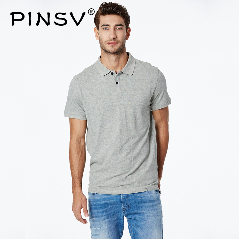 PINSV   Polo   Shirt Men 2019 Casual Knitted 100% Cotton   Polo   Shirt Men's   Polo   Solid Short Sleeve Shirt MPO-7130