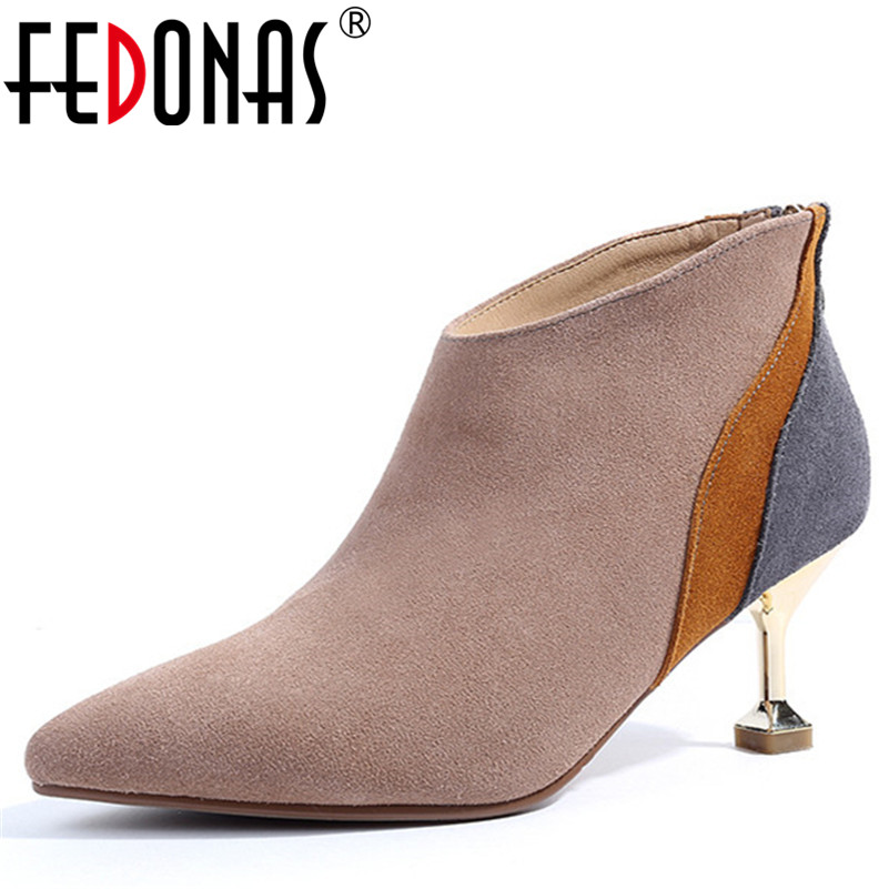 FEDONAS Retro High Quality Women Cow Suede Ankle Boots Sexy Pointed Toe High Heeled Autumn Winter Warm Martin Shoes Woman Pumps fedonas retro ruffels women shoes woman wedges high heeled warm autumn winter motorcycle boots fashion new round toe martin shoe