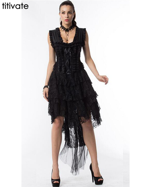 TITIVATE Summer Sexy Women Corset Black Lace Bandage Corset Dress Gothic Bustier Burlesque Steampunk Burlesque Costume
