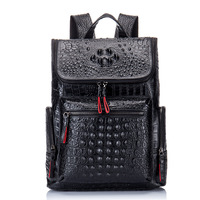 New leather backpack men's shoulder bag leather Crocodile men's bag leather bag European and American tide travel bag