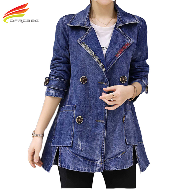 3684bc48891 New 2018 Women Plus Size Denim Coat Jacket Double Breasted Long Sleeve Jeans  Jackets Women Fashion Jeans Outerwear Coat Female