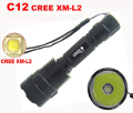 L2  LED Flashlight New high quality C12 Cree XM-L L2 2500LM 5-Mode XML2 Flashlight Torch( can use 1x 18650 rechargeable battery)