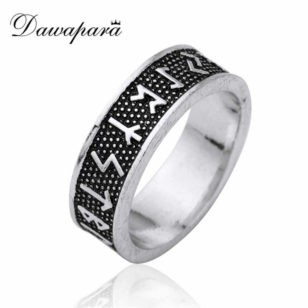 Dawapara Antique Silver Wicca Black Engraving Norse Viking Runes Rock Punk Vintage Men Party Mythology Ring