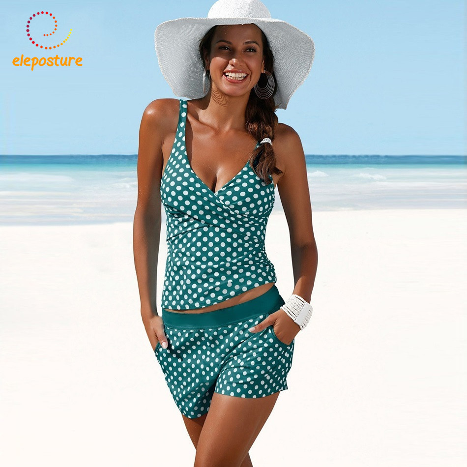 2018 Plus Size Swimwear Women Tankini Swimsuits High Waisted Bathing Suits Polka Dot Swimsuit Vintage Retro Bikini Set Beachwear plus size polka dot button tank top