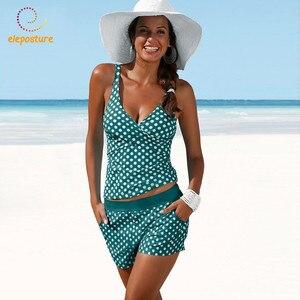 Image 1 - 2020 Plus Size Swimwear Women Tankini Swimsuits High Waisted Bathing Suits Polka Dot Swimsuit Vintage Retro Bikini Set Beachwear