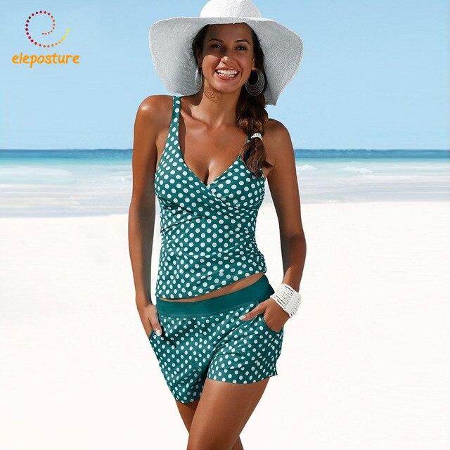 2020 Plus Size Swimwear Women Tankini Swimsuits High Waisted Bathing Suits Polka Dot Swimsuit Vintage Retro Bikini Set Beachwear