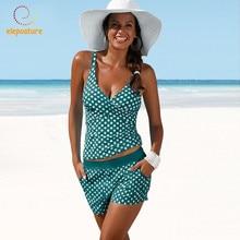 2020 حجم كبير ملابس النساء Tankini المايوه عالية الخصر لباس سباحة البولكا نقطة ملابس السباحة Vintage الرجعية مجموعة البكيني بحر
