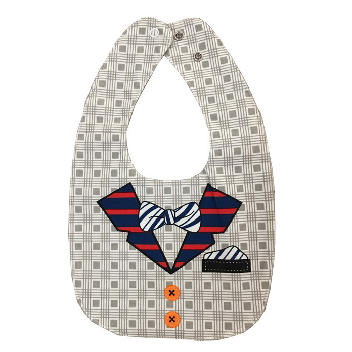 Hey-Pitch Checkered bow tie double-sided cartoon buckle baby bib pocket baby saliva towel color: gray