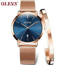 OLEVS Ultra דק גבירותיי שעון יוקרה נשים שעונים עמיד למים עלה זהב נירוסטה קוורץ לוח שנה שעון יד montre femme