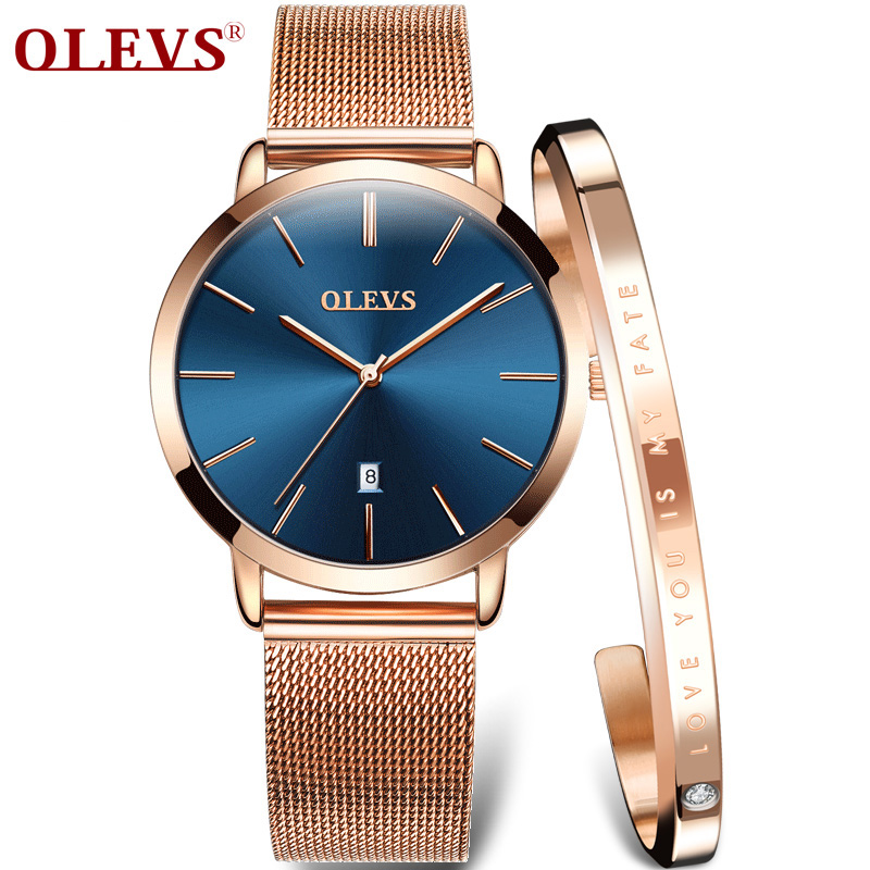 OLEVS Ultra Thin Ladies Watch Luxury Women Watches Waterproof Rose Gold Stainless Steel Quartz Calendar Wrist Watch Montre Femme
