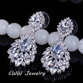 Elegant Chandelier Shape AAA+ Cubic Zirconia Simulated Diamond Long Big Crystal Bridal Earrings For Wedding Jewelry CZ202