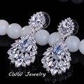 Elegante Lustre Forma AAA + Cubic Zirconia Simulado Diamante Jóias CZ202 Longo Grandes Brincos De Cristal De Noiva Para O Casamento