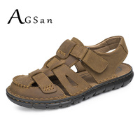 AGSan Genuine Leather Men Sandals Summer Casual Mens Slippers Leather Beach Shoes Brown Comfortable Breathable Mens Sandals
