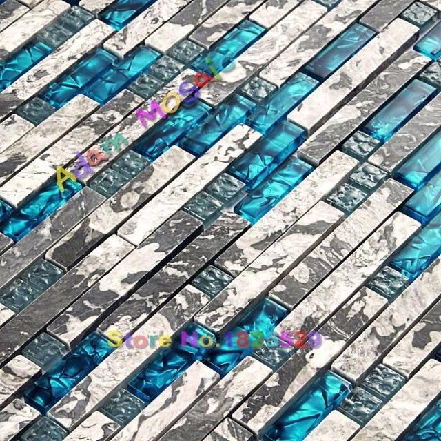 Kuche Mosaik Glas Blau Fliesen Naturstein Marmor Fliesen Grau Bad