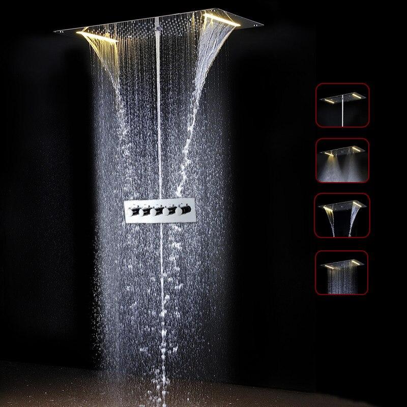 Удивительные термостатический Ванная комната ванны смеситель для душа 700*380 мм светодиодный Ванная комната набор для душа и датчик клапан