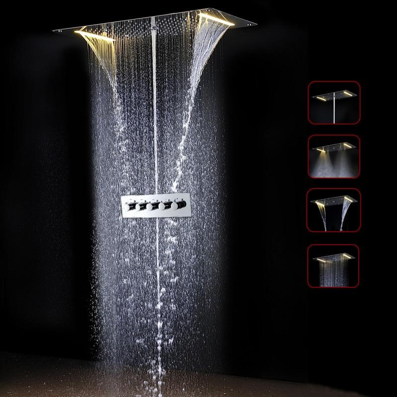 Incredibile Termostatico Bagno Vasca Da Bagno Doccia Rubinetto Set 700*380mm LED Bagno Doccia Set & valvola del sensore