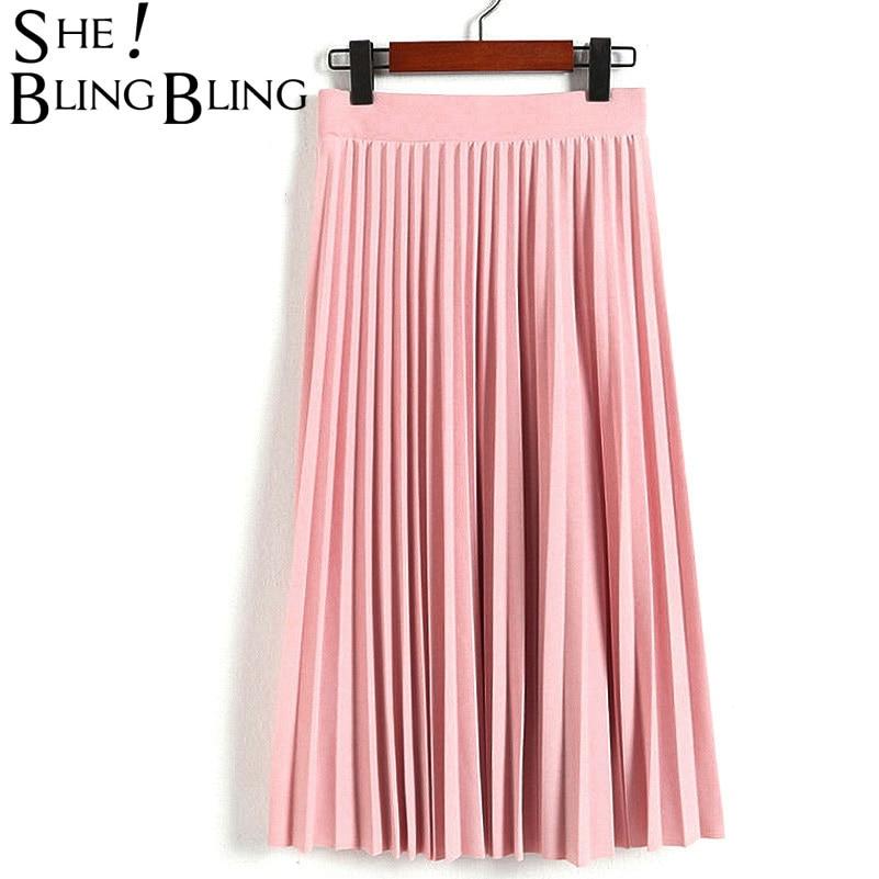 Primavera y otoño nueva moda de las mujeres de alta cintura plisada Color sólido de media longitud elástica falda promociones señora negro rosa