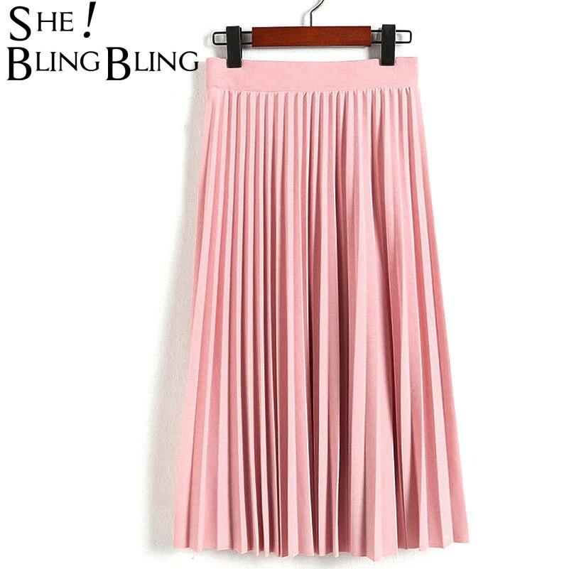 SheBlingBling moda Otoño primavera de las mujeres de cintura alta plisado Color sólido longitud media falda-promociones dama negro rosa