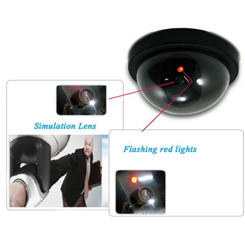 Falso câmera sem fio simulado vídeo vigilância em casa indoor/outdoor vigilância manequim led falso dome câmera de segurança em casa