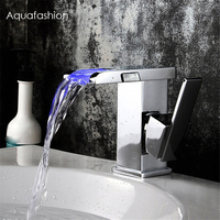 LED Waterfall Faucet Polished Chrome Single Lever Handle Bathroom Wash Basin Mixer Tap Water Power LED Waterfall Faucet