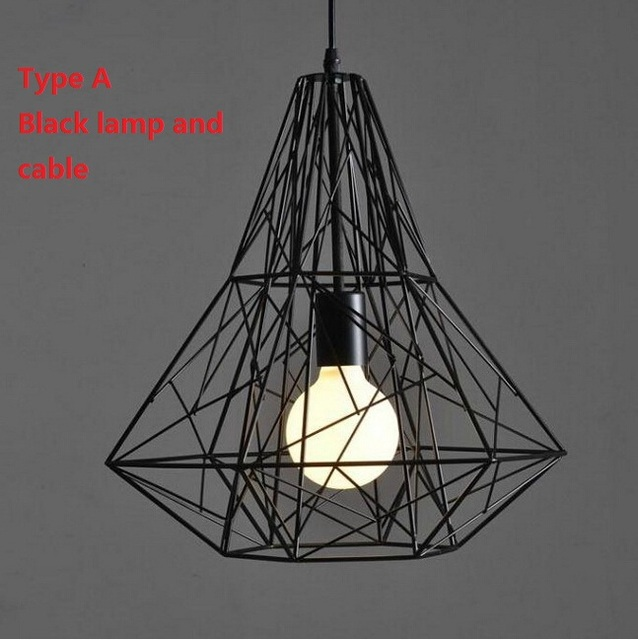 Modern Wrought Iron Bird Cage Pendant Lights American Retro Industrial LOFT Bar Hanglamp Geometric Lamp Fixtures