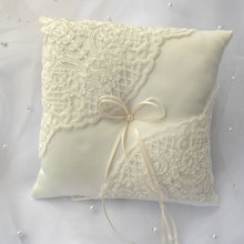Satin Lace Ring Bearer Pillow Ivory Wedding With Bow 20x20cm Cushion For Bridal Ceremony Pocket