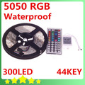 5050 5M Waterproof RGB LED Flexible Strip 300LEDs + 44Key IR Remote Controller  Free Shipping