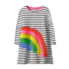 Little Girl Trends Spring Casual Cotton Applique Tunic Dress Toddler Girls Party rainbow Striped Long sleeve Dresses
