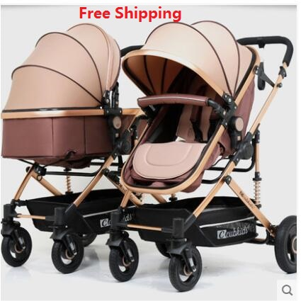 Free Shipping Twins Baby Stroller Luxury Fashionable Pram Aluminum Frame High Landscape Baby Carriage